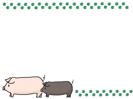 부자 돼지 프레임 녹색
