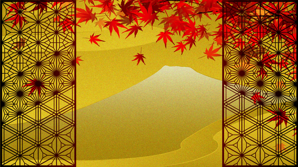 Mt. Fuji with gilt-style windows and autumn leaves and a pair of boys