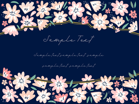 Hand-painted floral frame 06 (pink)