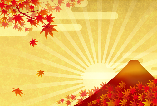 Mount Fuji and autumn leaves 2
