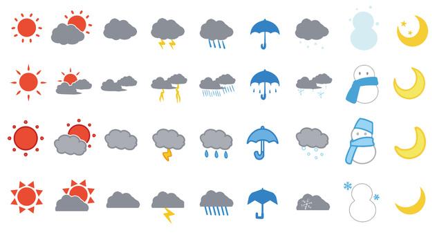 Weather icon mark set