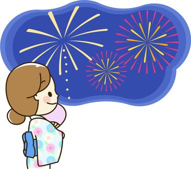 Women in kimono 2 - 3 fireworks