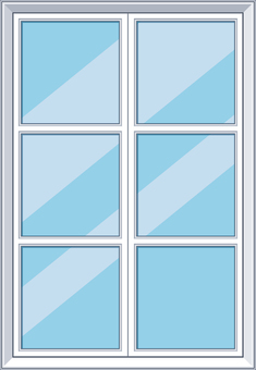 Western style crate glass window frame white