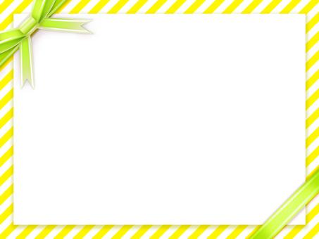 노란색 × 화이트 라인 배경에 노란색 녹색 리본
