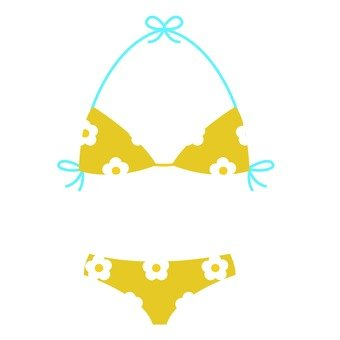 Flower pattern triangle bikini