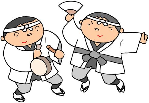 年賀用イラスト.19(正月踊り)