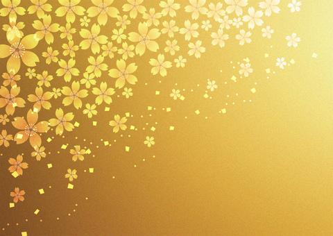 Sakura _ gold leaf background