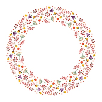 Autumn circle frame