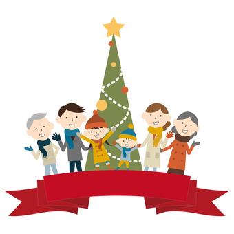 特寫家庭,聖誕樹,標題