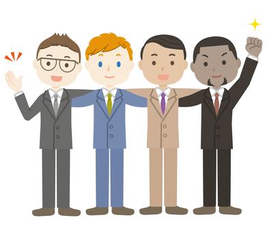 Illustration of a foreigner shoulder strap business partner