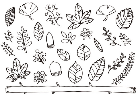 Hand-drawn autumn leaves