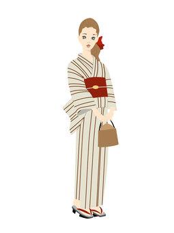 Yukata beautiful (striped) without background
