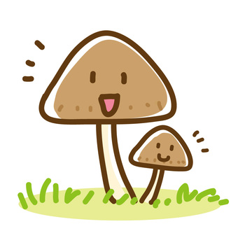 Laughing parent and child with mushroom