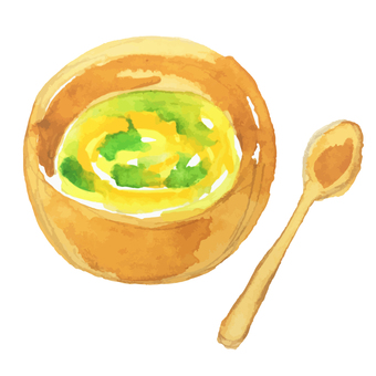 Watercolor illustration of egg soup