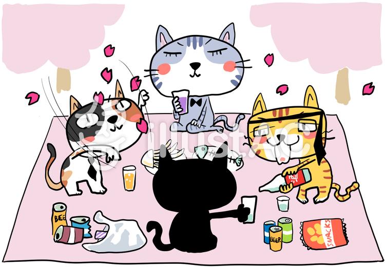 花見する4匹の猫のイラスト