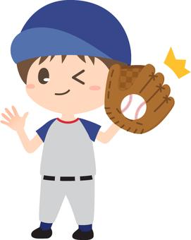 野球_キャッチする男の子
