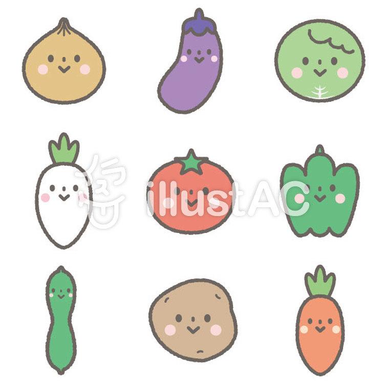 かわいい野菜セットイラスト No 1127463無料イラストならイラストac