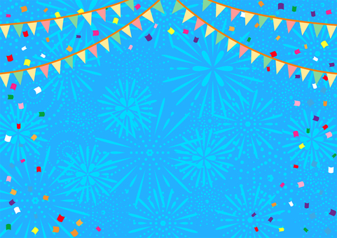 Fireworks background with flag and confetti