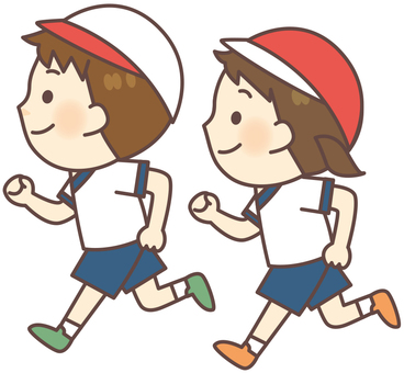 Gym suit clothes - running boys · girls (with red and white cap)