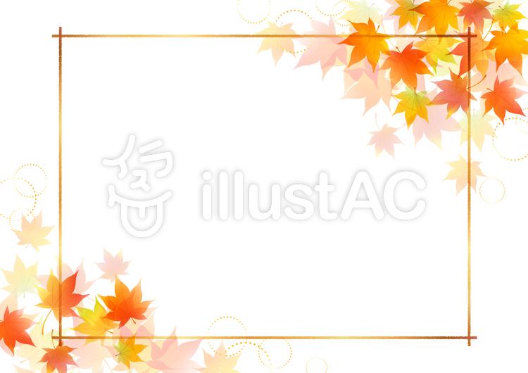 秋のもみじフレーム9のイラスト
