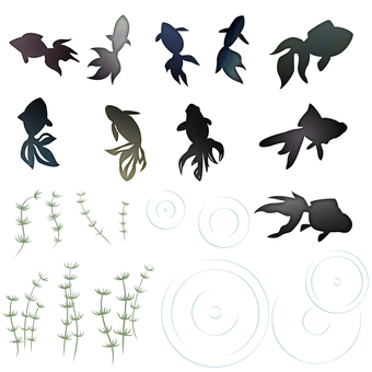 水彩風金魚セット(黒)
