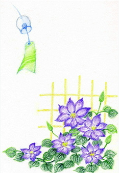 Wind chimes and clematis (iron wire)