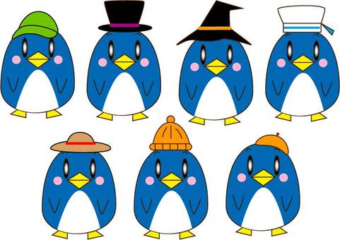 Various hats and penguins