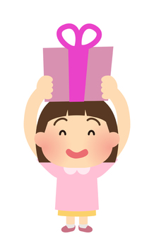 Illustration of a girl who is pleased to receive a present
