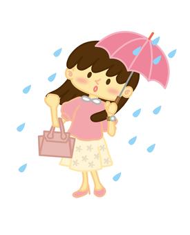 우산을 쓰는 여성