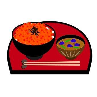 Ikura rice and miso soup