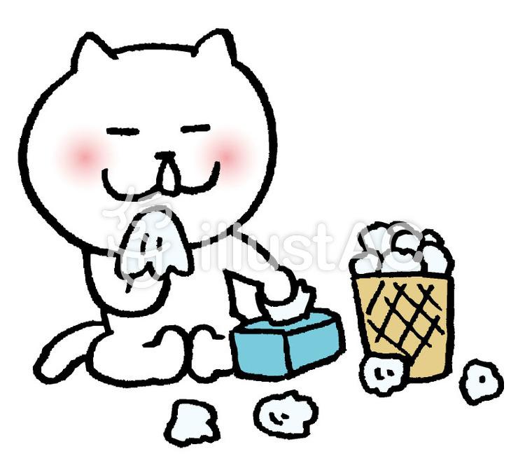 猫 風邪をひくのイラスト