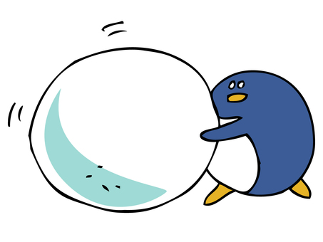 Penguin rolling a snowball