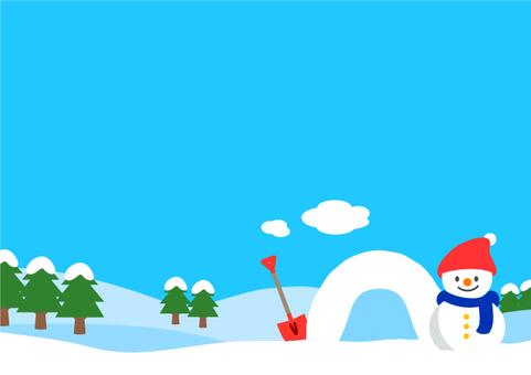 Snowman and snow scene 2