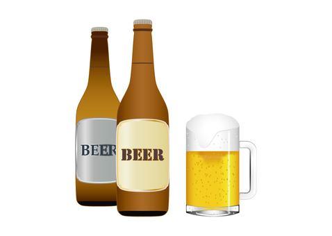 ビール瓶2本とビールジョッキ