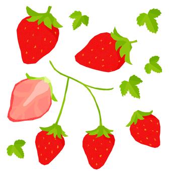 봄의 휘어있는 딸기