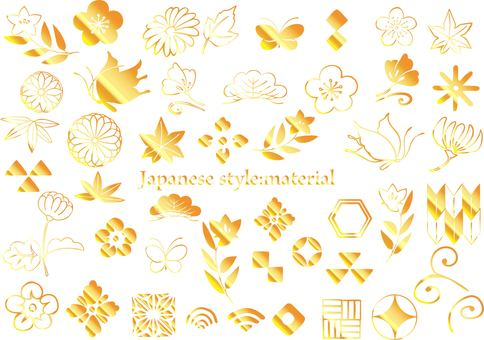 Japanese pattern material gold