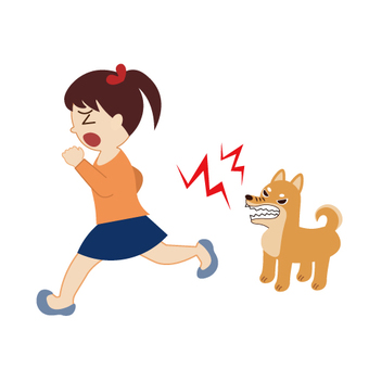 A girl who scares the barking dog and runs away