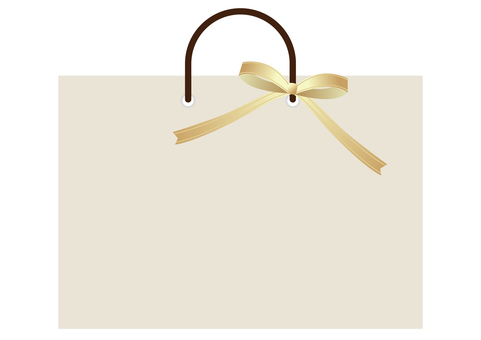 Shopping bag and golden ribbon