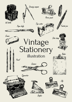 Vintage stuff stationery illustration