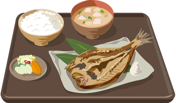Grilled fish set with tray
