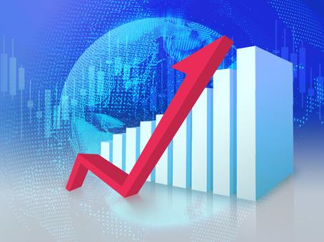 地球儀背景と経済が成長する立体的なグラフ