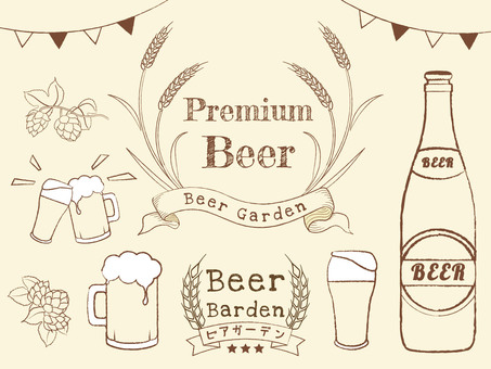 Beer set hand drawn style
