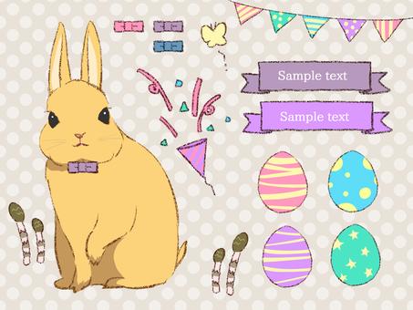 Easter set C orange rabbit