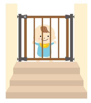 Baby gates and babies on the stairs