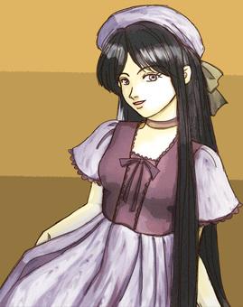 A girl in purple dress