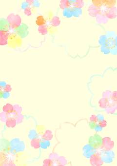 Watercolor style colorful cherry blossom background