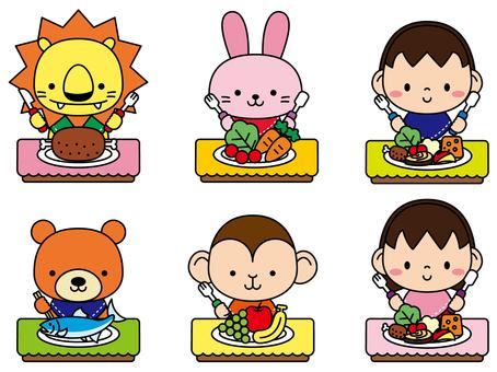 動物和兒童的午餐時間