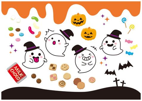 Halloween ghosts and sweets