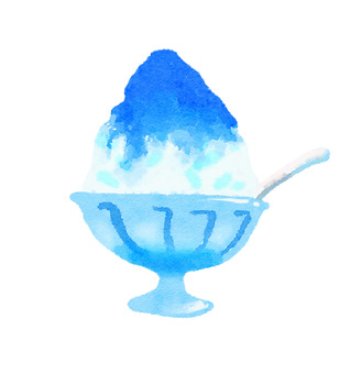 Watercolor Shaved Ice Blue Hawaii