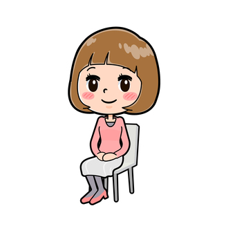 Pink clothes young woman seated